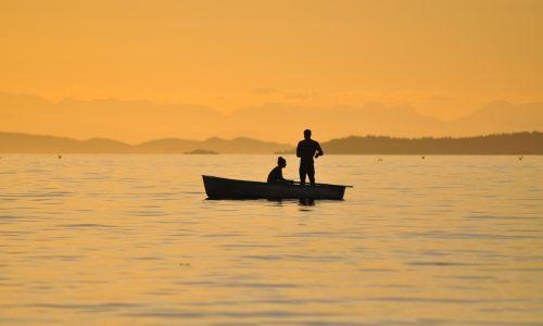 釣り人の夕暮れ